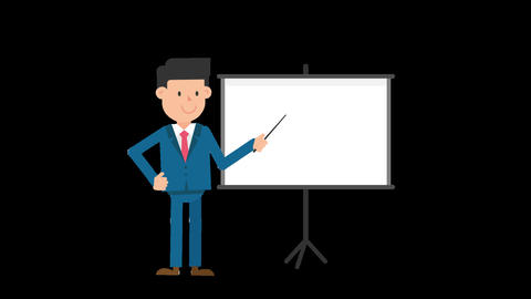 Corporate Man Using the Projector Screen Loop Animation