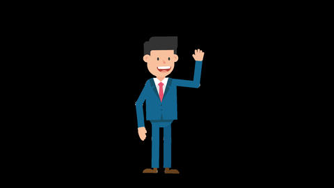 Corporate Man Waving His Hand Loop Animation