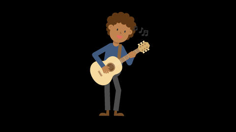 Black Man Playing Guitar Standing Animation