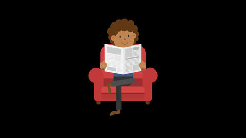 Black Man Reading Newspaper on the Couch Animation