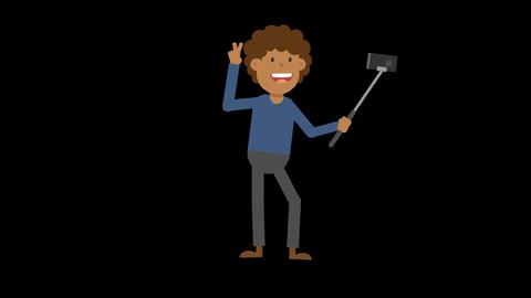 Black Man Taking a Selfie Animation