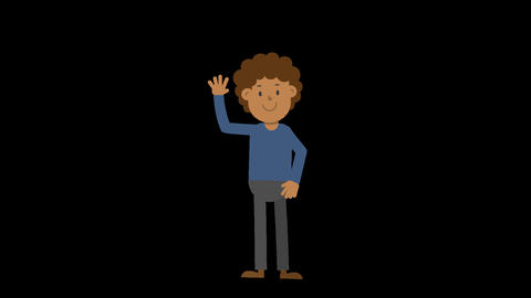 Black Man Waving Hand Animation