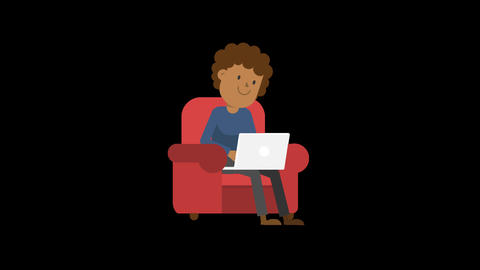 Black Man Working at his Laptop on the Couch CG動画素材