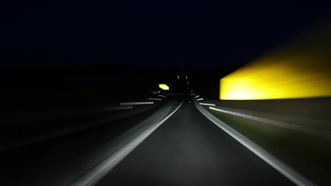 Driving on a German country road at night ビデオ