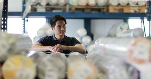 Portrait of male employee in distribution warehouse Footage