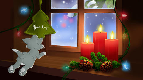 Christmas and New Year Card with kitten AE Progect After Effects Template