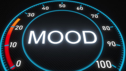 Mood futuristic meter or indicator. Conceptual 3D animation Footage