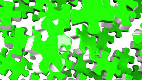 Green Jigsaw Puzzle On White Background Animation