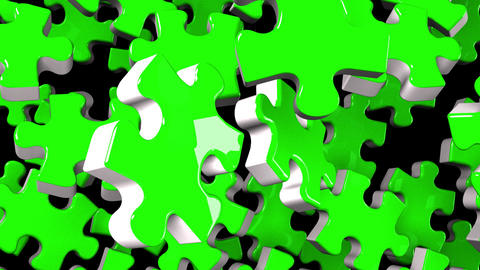 Green Jigsaw Puzzle On Black Background Animation