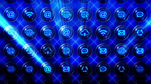 Set of Web Icons, Internet Communication Background, CG Loop Animation CG動画素材
