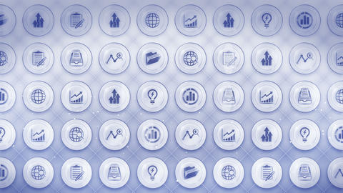 Set of Business Icons, Global Business Background, CG Loop Animation Animation