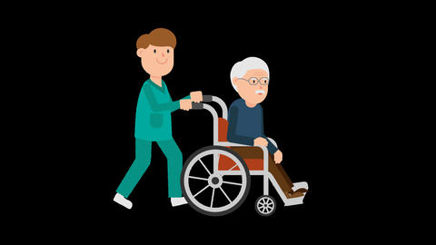 Nurse Pushing a Patient on a Wheelchair Loop Animation