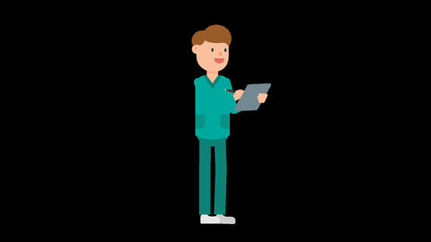 Nurse with Clipboard Loop Animation