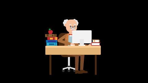 Professor Working at his Desk Animation