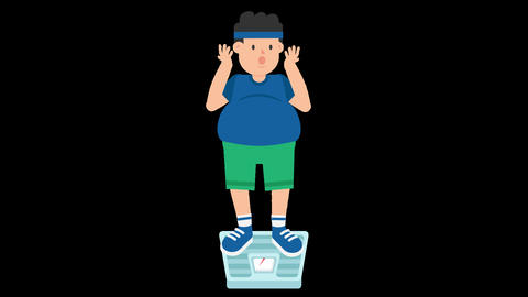 Fat Man on Weighing Scale Animation