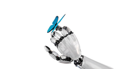 Butterfly Lands on the Robot's Hand on a White Background Videos animados