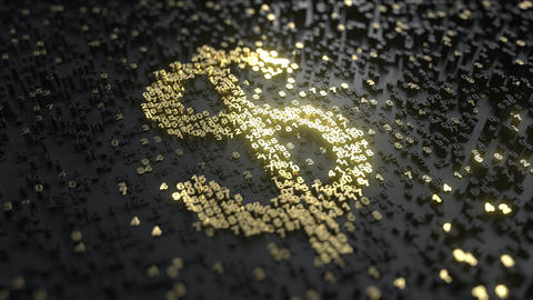 Dollar sign made of gold numbers. Conceptual animation Footage