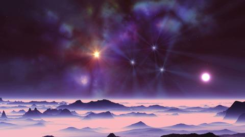 Sunset and Colorful Nebula Animation