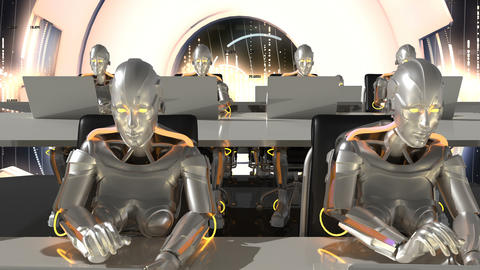 Cyborgs of the future work in sci-fi office on computers. Loopable Animation
