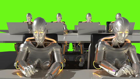 Cyborgs of the future work in sci-fi office on computers. Loopable. Green screen GIF