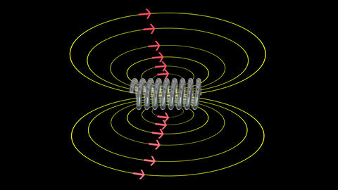 Solenoid field. Magnetic field lines. Seamless looping animation Animation