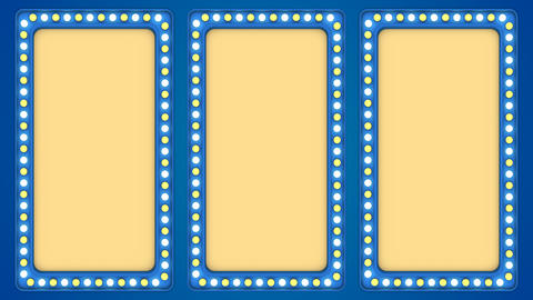 Triple screens flashing light bulbs blue frame border sign surface casino Animación