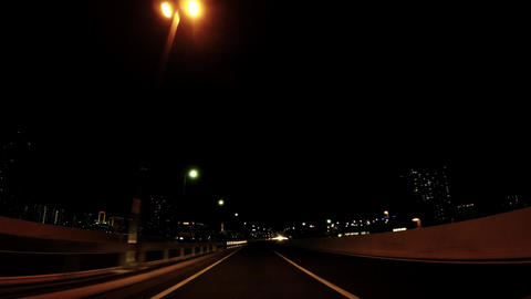 Japanese road, capital highway Odaiba line car window ビデオ