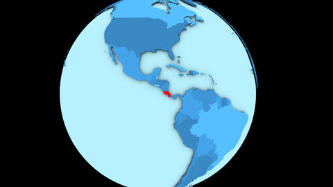 Costa Rica on blue planet Animation