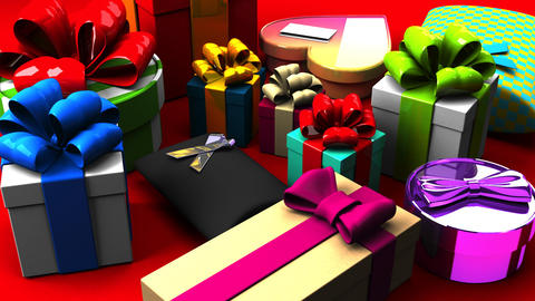 Colorful Gift Boxes 動画素材, ムービー映像素材