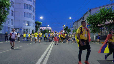 Colombia football fans celebrating the victory Footage