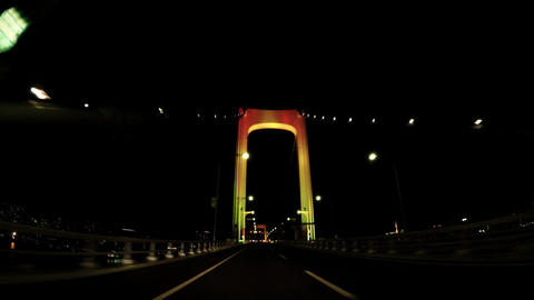 Japanese city drive window, Tokyo, driving the night Rainbow Bridge Live Action