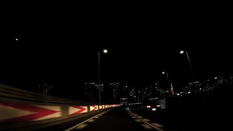 Japanese city car window, Tokyo at night. Near Shibaura Footage