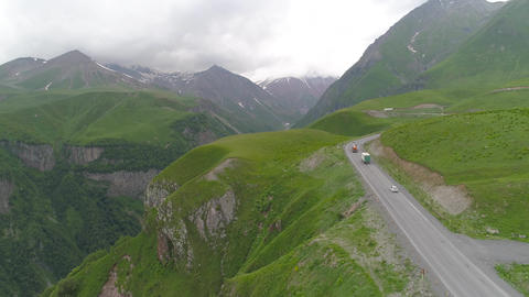 Aerial View of Road in the Mountains Stock Video Footage