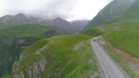 Aerial View of Road in the Mountains Footage