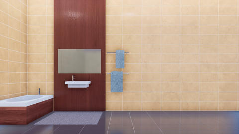 Modern bathroom interior and copy space tiled wall Footage