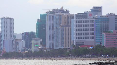 Nha Trang Cityscape Beach Front South China Sea HD Archivo
