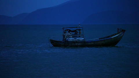 Wooden Fishing Boat On The South China Sea Stock Footage Archivo