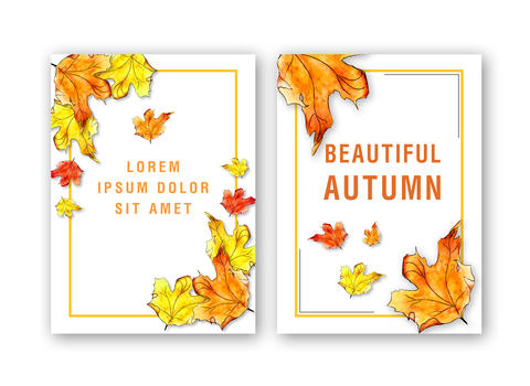 Template of card with watercolor autumn maple leaf Fotografía