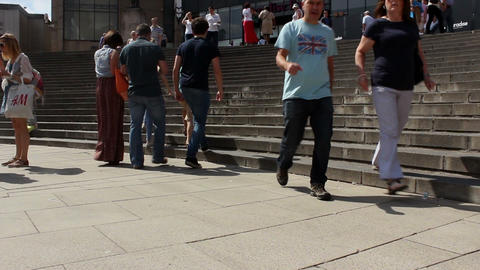 People walking the stairs - low angle shot Footage