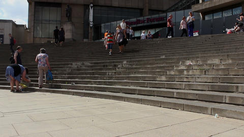People walking the stairs - wide low-angle shot Footage