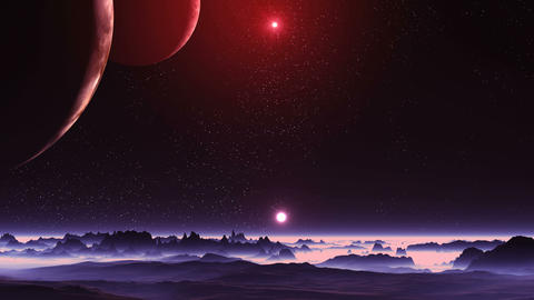 Two Moons and Two Suns over Alien Planet Animation