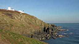 Lizard Point and lighthouse, the most Southerly point in Britain Footage