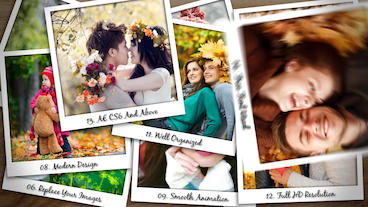Falling Polaroid Photos After Effects Template