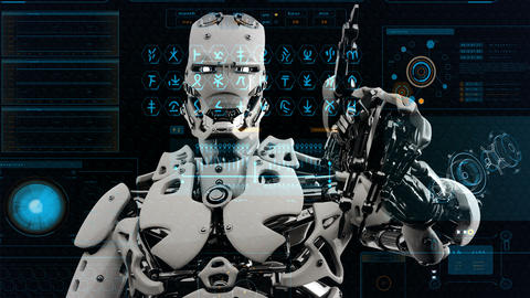 Robot android presses the keys on sci-fi screen. Realistic motion background. 4K Animation