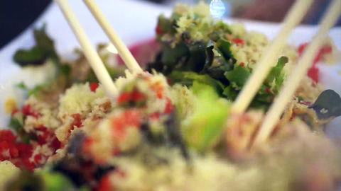 Salad Asian style sesame sauce with tempura dressing Live Action