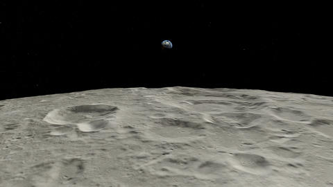 Flying over moon with rising earth. Earth moon. Earth from Space Animation
