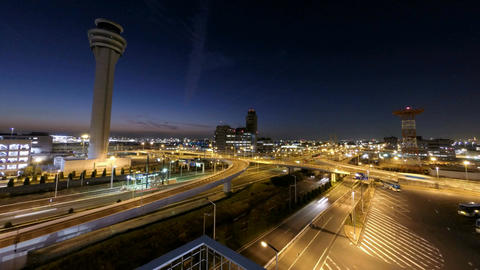 Timelapse variation of sunset skies over the junction at Tokyo International Air Footage