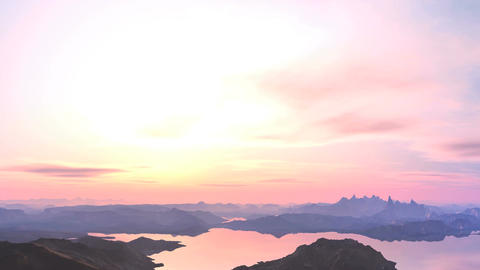 Pink sunset over the mountains Animation