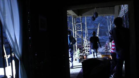 Silhouette Of Film Crew stock footage