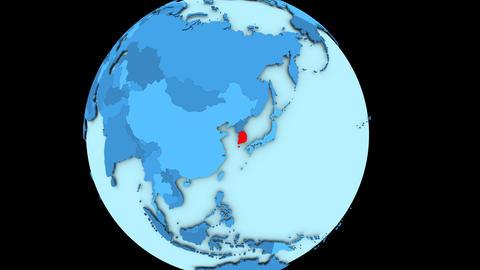 South Korea on blue planet Animation